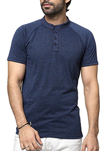 Zeyo Mens Henley Half Sleeve Tshirt Stylish Navy Blue milanch - Regular fit Front Button t-Shirt