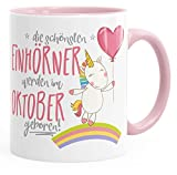 MoonWorks Geburtstags-Tasse die schönsten Einhörner Werden im Oktober Geboren Geschenk-Tasse Rosa Unisize