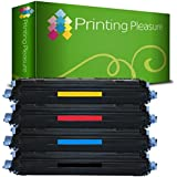 Printing Pleasure 4 Compatibles Cartuchos de tóner para HP Colour Laserjet CM1015MFP CM1017MFP 1600 1600N 2600 2600N 2600DN 2600NSE 2605 2605D 2605DN 2605DTN Canon I-SENSYS LBP-5000 LBP-5100 - Negro/Cian/Magenta/Amarillo, Alta Capacidad