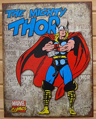 e Decor Schilder Mighty Thor Retro Cover Panels Marvel Blechschild Blechschild VTG Superhelden 1889 ()