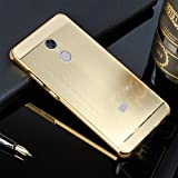Schutzhülle für Xiaomi Redmi Note 4X Hülle Shockproof,Slynmax Spiegel Design Gold Ultradünn Metall Bumper Case Hart PC Plastik Stoßfest Rückschale Cover Schutzhülle für Xiaomi Redmi Note 4X Dual Layer 2in1 Electroplate Handy Rückseite Anti-Scratch Case Handyhülle Transparent Mirror Crystal Clear Hybrid Heavy Duty Etui Outdoor Tasche Backcover + 1x Schwarz Eingabestift Touchstift Stylus Pen