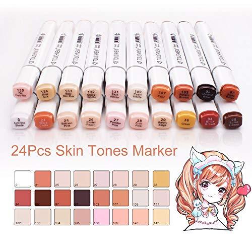 Touchnew marcadores de tono de piel, 24 colores de doble punta, marcadores para dibujar pintura álbumes de recortes, además de un pincel de resalte y un bolígrafo de subrayado como regalo