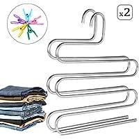 AIDBUCKS Hosenbügel In S-Form Aus Edelstahl Mehrzweck 5-Fach Kleiderbügel - Platzsparend - Jeans Krawatte Schal - 2er Pack
