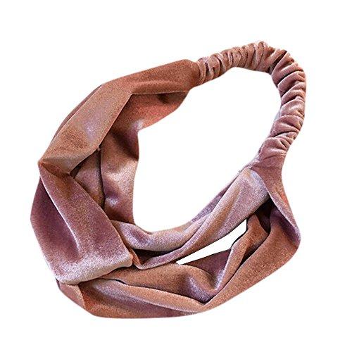 Doublehero Damen Einfarbig Samt Kreuz Twist Stirnband Haarband Turban Elastische Stirnband Bandage (Rosa) (Männer Mit Turban Stirnband)
