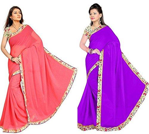 Aashi Saree Exclusive Combo Of Plain Chiffon Lacy Border Sarees (Peach & Purple)