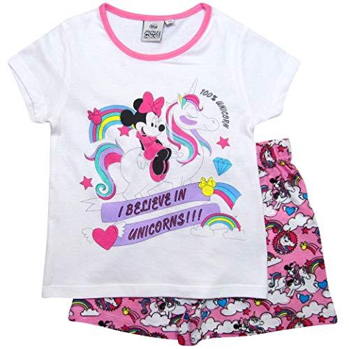 Minnie Mouse Pyjama Mädchen Schlafanzug Disney (Weiß-Rosa, 104) Disney Mädchen Minnie Mouse