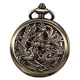ManChDa Antiguo Mecánica Reloj de bolsillo Lucky Dragon y Phoenix (recuerdos) Bronce Esfera esqueleto con cadena + caja de regalo