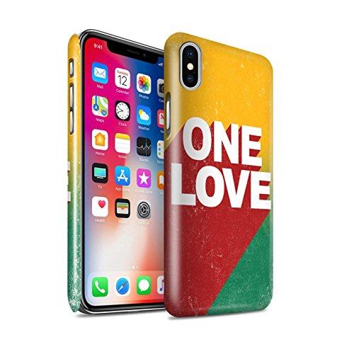 Stuff4® Glanz Snap-On Hülle/Case für Apple iPhone XS/One Love Poster Muster/Rasta Reggae Kunst Kollektion Iphone Mobile-skin