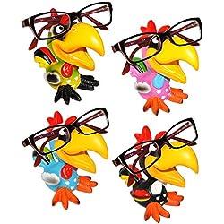"""4 STück _ Brillenhalter - """" lustiger Vogel - Papagei Ara / Hahn - Tukan / Gockel """" - stabil aus Kunstharz - universal Größe - lustiger Brillenständer - für Sonnenbrille Lesebrille - für Kinder & Erwachsene / Brillenhalterung - Brillenablage - Tier lustig - Deko Figur - Vögel exotisch / Karibik - Urlaub - Hühner"""
