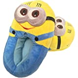 "Despicable Me 2 Plush Stuffed Men's Women's Unisex Slippers Smile Soft Toy Minion 11"" Adult Shoes Free size fit 34-42 (3D Eyes Not Available) (3D Eyes Minion Dave)"