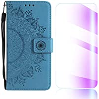 The Grafu Moto G5 Plus Case, Leather Case, Premium Wallet Case with [Card Slots] [Free Tempered Glass Screen Protector] Flip Notebook Cover for Moto G5 Plus, Blue