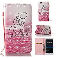 HUAWEI P9 Lite Case, Iddi-Case Fashion Cute Pattern Luxury Pu Leather Wallet Magnetic Design Flip Folio Protective Case Cover with Card Holder - Stay Beautiful