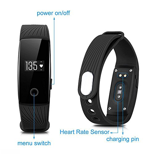 ginsy Fitness Tracker mit Herzfrequenz Monitor Sleep Monitor Smart Armband Activity Tracker für iPhone und Android Handy, blau -