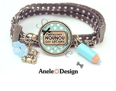 Bracelet Profession Nounou qui déchire cadeau nourrice bleu noir marron, minimaliste, meilleure nounou, bijoux cabochon, bracelet délicat