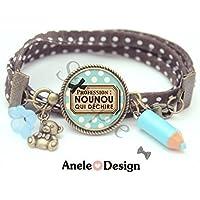 Bracelet Profession Nounou qui déchire cadeau nourrice bleu noir marron