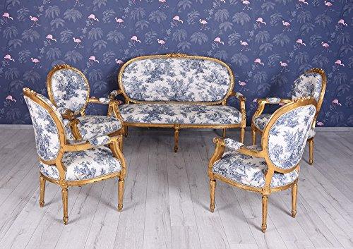 Sitzgruppe Antik Sofa 4 Sessel Sitzgarnitur Rokoko Sofagarnitur Toile de Jouy Einzelstück Palazzo Exklusiv