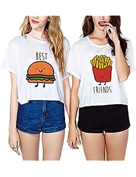 Camisetas Mejores Amigas JWBBU® 2 Piezas Camisas de Impresión Best Friend manga corta tops Blanco