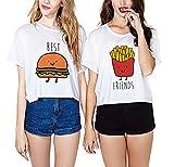 JWBBU Camisetas Mejores Amigas 2 Piezas Camisas de Impresión Best Friend Manga Corta Tops Blanco (Best-M+FR-M)