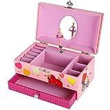 SONGMICS Portagioie per bambini Musicale Motivo del Lago dei Cigni con Specchio per Regalo Natale (Pink) JMC002