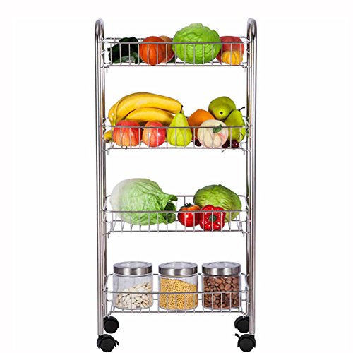 Küchenwagen HWF 4-Tier Stand Storage Rack Edelstahl Küche Draht Regal mit Spice Rack Organizer, 43 * 23 * 91 cm (Organizer Draht Rack)
