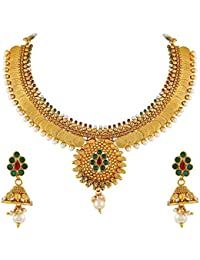 Asmitta Laxmi Coin Gold Plated Choker Style Copper Necklace Set For Women