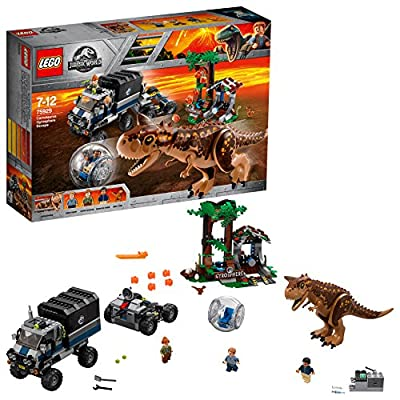 LEGO 75929 Jurassic World Carnotaurus Gyrosphere Escape, Toy Dinosour, Truck, Station and Mobile Control Center Plus Owen Minifigure, Fallen Kingdom Movie Sets