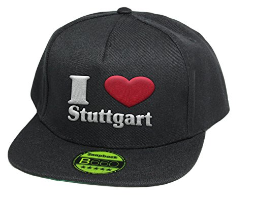 simpleandsweet I Love Stuttgart, Snapback Cap, 5 Panel/Pureblack