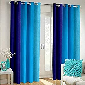 Shree Ram Decor Polyester Blend Long Crush Eyelet Window 5 ft Curtains (Aqua Blue) Set of 2