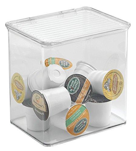 Mdesign contenitore plastica con coperchio incernierato - scatola trasparente per conservare alimenti e oggetti in cucina: tè, caffè, spezie, salse, ingredienti