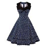 QiuLan Damen 50er Vintage Retro Rockabilly Kleid Hepburn Stil Polka Dots Kleid Partykleider Cocktailkleider Festliches Kleider(Navy Blau Polka Dots,XXL)