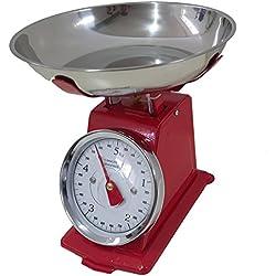 Bilancia ROSSA da cucina 20 KG meccanica analogica con stile retro' in metallo con piatto in acciaio, EURONOVITA'