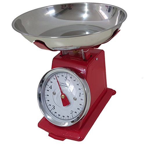 Báscula roja de cocina 10 kg analógica analógico con estilo retro ...