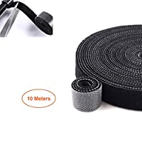 ‏‪FOOKANN Extra Long Cable Management 10 Meters, Reusable Cable Organizer, Adjustable Wire Ties with Hook and Loop Fastener, Black‬‏