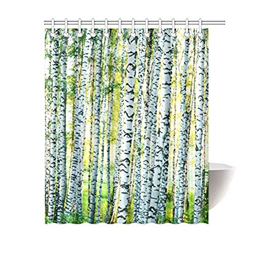 YULIANGE Home Badezimmerdekoration Grüne Birke des Lebens Duschvorhang Haken-Bare Sommer Birkengras Im Waldmuster Woodland-150 * 200Cm (4.9 * 6.5Ft) -