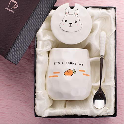 Becherkaffeetasse der keramischen Schale kreative nette Studentin mit Deckellöffelbürokarikaturtrinkbecher-Rettichgeschenkbox -