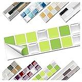Wandora 1 Set Fliesenaufkleber 25,3 x 3,7 cm hellgrün grün Silber Design 9 I 3D Mosaik Fliesenfolie Küche Bad Aufkleber W1536