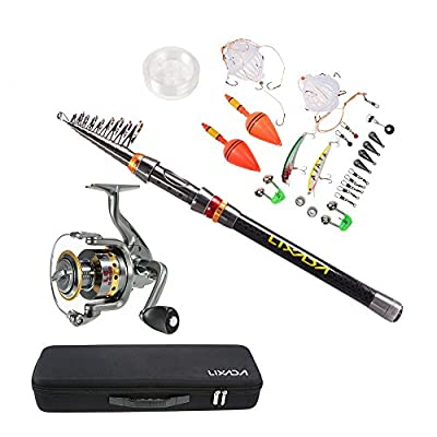 Lixada Fishing Rod and Reel Combo Kit Telescopic Spinning Fishing Reel Gear Organizer Pole Set with 100M Fishing Line and Fishing Carrier Bag Case Fishing Accessories by Lixada