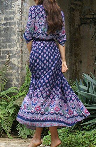 D-Pink -  Vestito  - stile impero - Maniche lunghe  - Donna blu navy