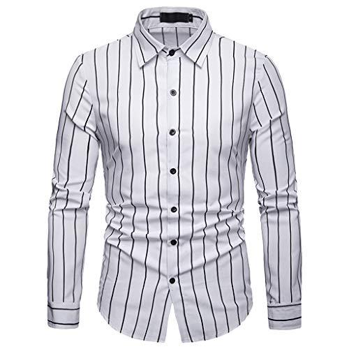 JMETRIC Casual Slim gestreiftes Herren Hemd Simple Joker Revers Langarmshirt(Weiß,S)
