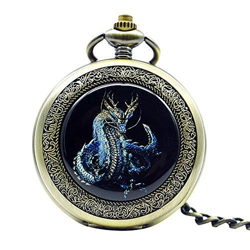 Icegrey Drachen Taschenuhr Mit Gravur Glücksbringer Mechanisch Taschenuhr Anhänger mit Halskette Kette Pocket Watch Silber