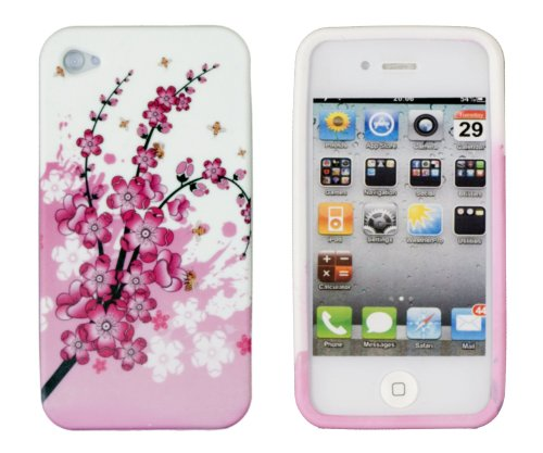 Pink Cherry Blossoms Flexible Gel Schutzhülle Für Apple iPhone 4, 4S (AT & T, Sprint & Verizon), Multi Sprint-gel