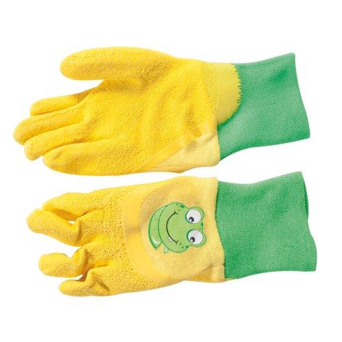 Gebol Kinderhandschuh Froggy Große 5 Baumwolle mit Latex Crinkle Beschichtung, gelb, (Handschuhe Kind Joker)