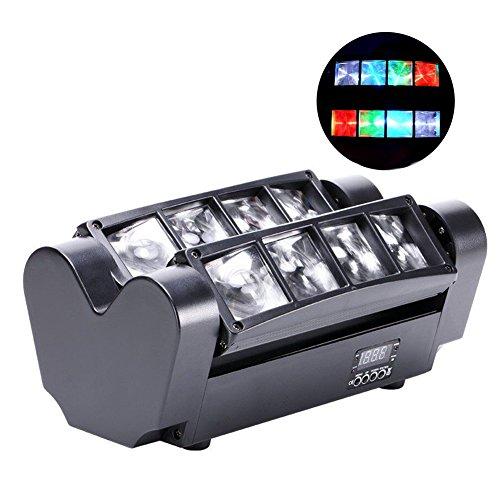 90W RGBW 12.06 Kanäle LCD DMX512-Ton aktivierte Auto Lauf Mini Spinne Bühne Beam Licht Headed bewegen Drehbare Effektleuchte mit Signalleitung für Disco KTV Club Party by ALICE DREAMS (Spinnenlicht)