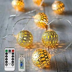 20 LED Lichterkette mit Fernbedienung und Timer,Vegena 8 Modi Dimmbar Weihnachtslichterkette Mit USB NICHT batteriebetrieben, 3.5m, Warmweiß