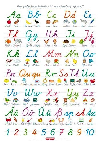 Fragenbär-Lernposter: Mein großes Schreibschrift-ABC in der Schulausgangsschrift (SAS), L 70 x 100 cm (Lerne mehr mit Fragenbär) (Das Abc In Schreibschrift)