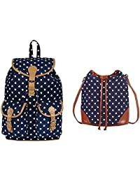 Ayeshu Bags Girls Pack Of 2 Canvas Printed Blue Backpack & Blue Sling Bag