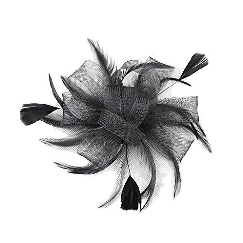 Pince à Cheveux Plumes pour Femme Mariée - Noir