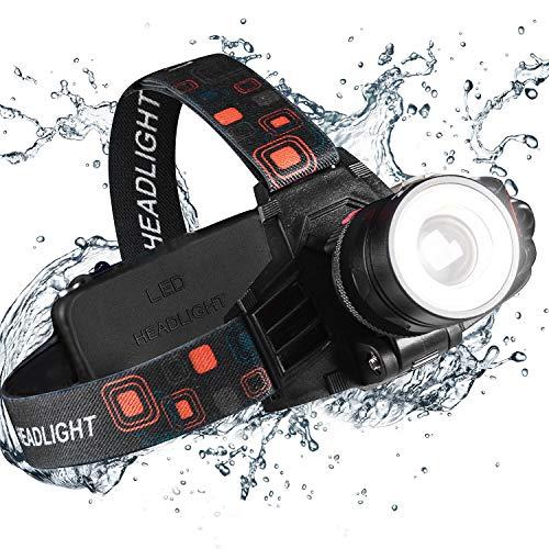 Stirnlampe-2 Funktionen (COB Flut- & Scheinwerferlicht) 6000 Lumen extrem hell 9oz Wasserdicht Zoomfähig 18650 Wiederaufladbarer Arbeitsscheinwerfer für den Bau Dental Elektriker DIY,Led Kopflampe