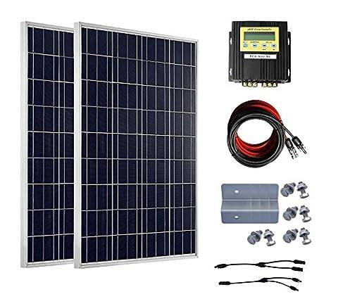 Eco de Worthy Off Grid Tie polycrys Vallée Line Panneau solaire Module solaire système Kits: 100W 12V + 20A MPPT CHARGE contrôleur solaire + Kit adaptateur with Connecteurs Mc4solaire + Mounting Cable, 200w