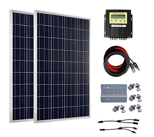 ECO-WORTHY 2 X 100W Solaranlage 12V Poly Solarmodul Bausatz W/ 20A MPPT Regler Laderegler